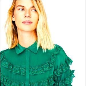 UTERQUE green blouse new with tag